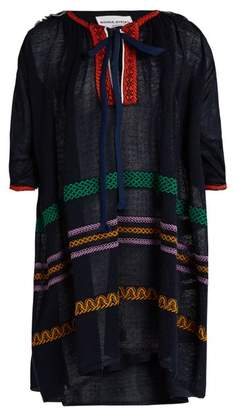 Sonia Rykiel Tie Neck Embroidered Linen Blend Dress - Womens - Navy Multi