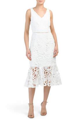 Lace Dress With Flounce Hem