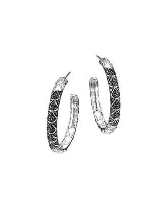 John Hardy Naga Silver Lava Hoop Earrings with Black Sapphire