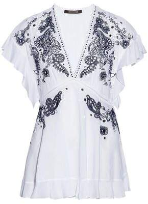 Roberto Cavalli Ruffled Embellished Cotton-Gauze Top