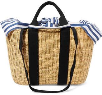 Muun Caba Straw And Striped Cotton-canvas Tote - Beige
