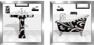 Laundry by Shelli Segal Zipcode Design 'Black Damask Tub' 2 Piece Framed Acrylic Painting Print Set Under Glass