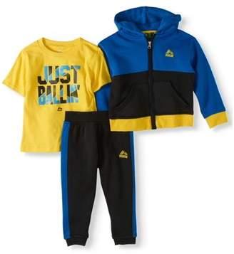 RBX Toddler Boy Blue Colorblock Hoodie, T-shirt & Fleece Jogger Active 3pc Oufit Set