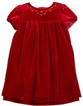 Luli & Me Velvet Floral Embroidered Puffy-Sleeve Dress, Size 2-6X