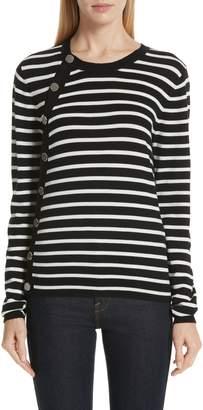 Altuzarra Stripe Button Side Wool Sweater