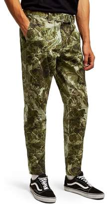 Topman Sand Camouflage Tapered Trousers