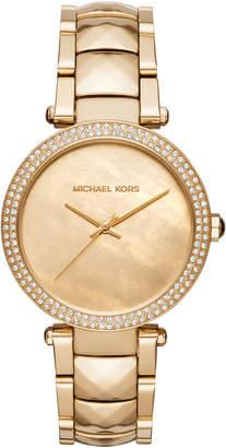 MICHAEL Michael Kors 39mm Parker Crystal Bracelet Watch, Yellow Golden