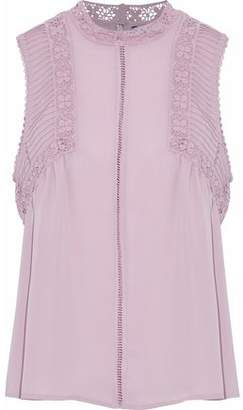 Rebecca Minkoff Giupure Lace-Trimmed Pintucked Crepe Top