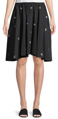 Vince Ditsy Floral Poplin Pleated Skirt