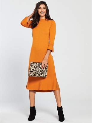 Very Skinny Rib Fluted Hem And Sleeve Knitted Dress - Spicy Orange