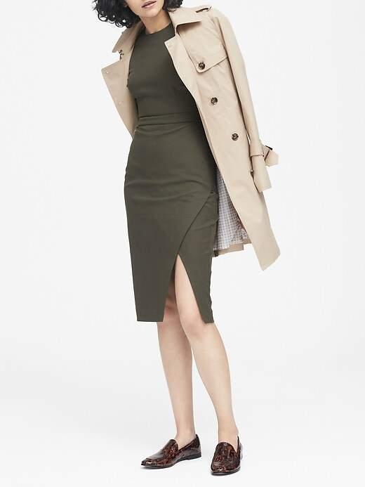 Petite Bi-Stretch Short-Sleeve Sheath Dress