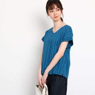 Dessin (デッサン) - デッサン Dessin 【洗える】綿レーヨンストライプシャツ (ブルー)