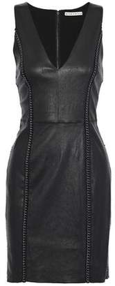 Alice + Olivia Chain-Trimmed Leather Mini Dress