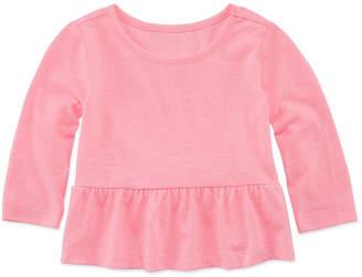 Okie Dokie Long Sleeve Peplum Top - Baby Girls