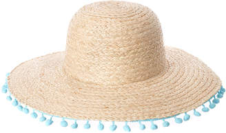 Marcus Collection Adler Raffia Straw Floppy Hat With Poms