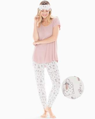 Cool Nights Short Sleeve Banded Ankle Pajama Set With Eye Mask Presents with Vintage Pink
