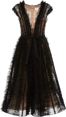 Marchesa A-Line Tulle Midi Dress