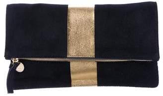 Clare Vivier Stripe Suede Fold-Over Clutch