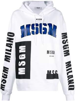 MSGM front printed logo hoodie