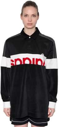 adidas By Alexander Wang Velour & Cotton Maxi Polo T-Shirt