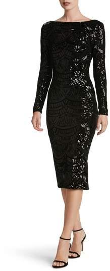 Dress the Population Emery Scoop Back Sequin Midi Dress