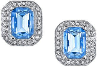 2028 Silver-Tone Lt. Sapphire Blue with Crystal Octagon Button Earrings