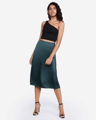 Express High Waisted Satin Midi Skirt