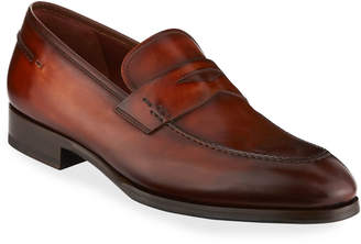 Magnanni Smooth Leather Penny Loafer, Brown