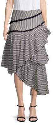 Love Sam Hailey Striped Asymmetrical Midi Skirt