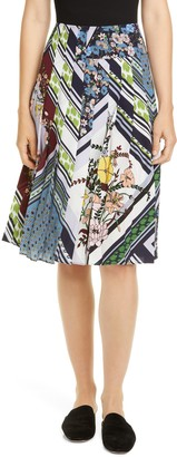 Tory Burch Printed Pleated Silk Skirt