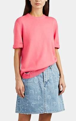 Calvin Klein Women's Detached-Hem Cashmere Short Sleeve Sweater - Begonia Size L