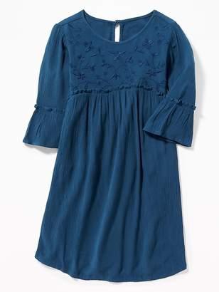 Old Navy Embroidered-Yoke Crinkle-Crepe Dress for Girls