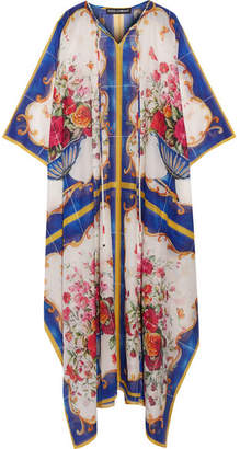 Dolce & Gabbana - Printed Cotton And Silk-blend Kaftan - White $1,375 thestylecure.com
