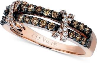 LeVian Le Vian Diamond Double Shank Crisscross Ring (1/2 ct. t.w.) in 14k Rose Gold
