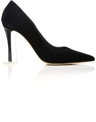 Rosie Assoulin Lucite-Detailed Velvet Pumps