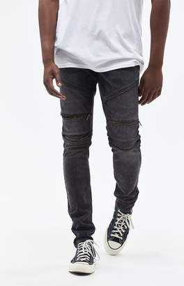 Moto Pacsun Stacked Skinny Zip Washed Black Jeans