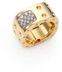 Roberto Coin Pois Moi Diamond& 18K Yellow Gold Two-Row Square Ring