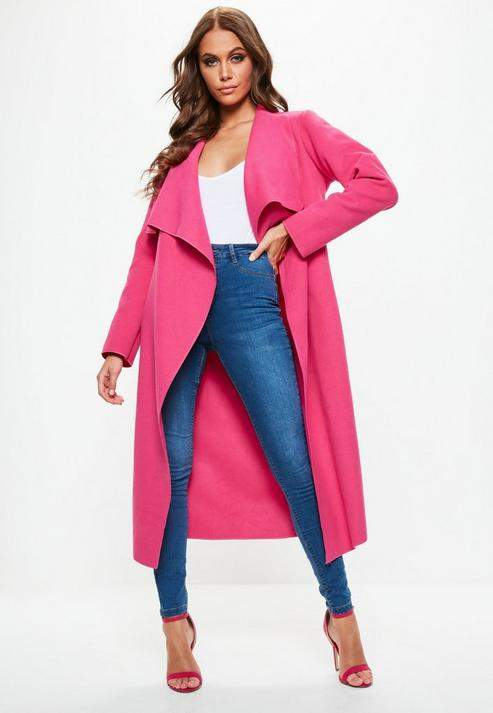 Pink Oversized Waterfall Duster Coat