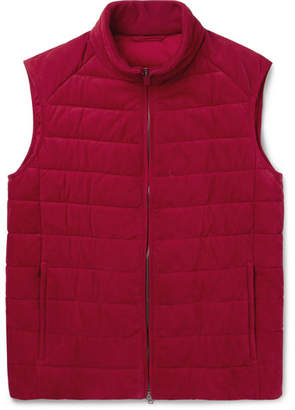 Brioni Quilted Nubuck Gilet - Men - Red