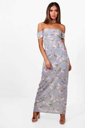 boohoo Floral Chiffon Off Shoulder Maxi Dress