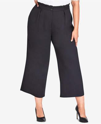 City Chic Trendy Plus Size Frilled Wide-Leg Pants
