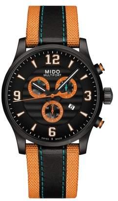 MIDO Multifort University of Miami Chronograph Nylon Strap Watch, 42mm
