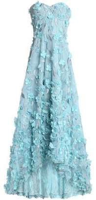 Marchesa Strapless Floral-Appliquéd Embroidered Tulle Midi Dress