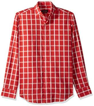 Bugatchi Men's Tailored Fit Checkered Spread Collar Cotton Shirt