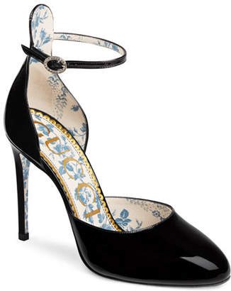 Gucci Daisy 105mm Patent Ankle-Strap d'Orsay Pump