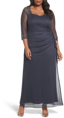 Alex Evenings Embellished Side Pleat Sweetheart Gown