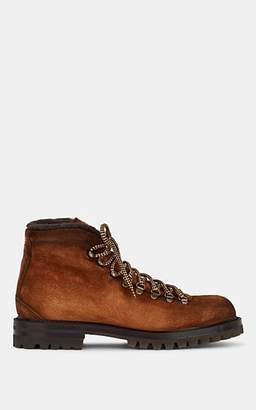 Barneys New York Men's Shearling-Lined Suede Hiker Boots - Brown