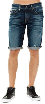 True Religion Ricky Flap-Pocket Rolled-Cuff Denim Shorts