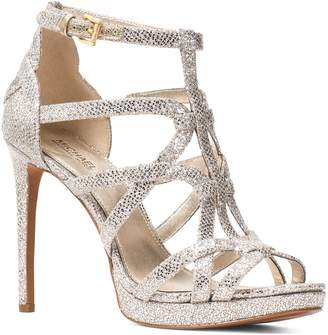 MICHAEL Michael Kors Women's Sandra Strappy Leather Platform High-Heel Sandals