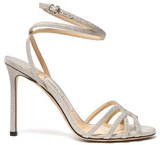 Jimmy Choo Mimi 100 Cross Strap Glitter Sandals - Womens - Silver